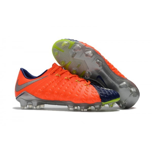 Men's Nike Hypervenom Phantom 3 FG Soccer Shoes Orange Blue Silver