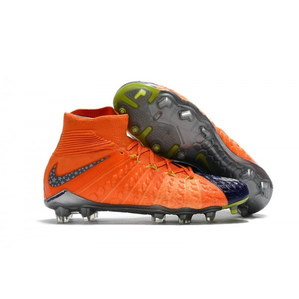 Men's Nike Hypervenom phantom III DF FG Neymar Wolf Grey Purple Orange Soccer Shoes