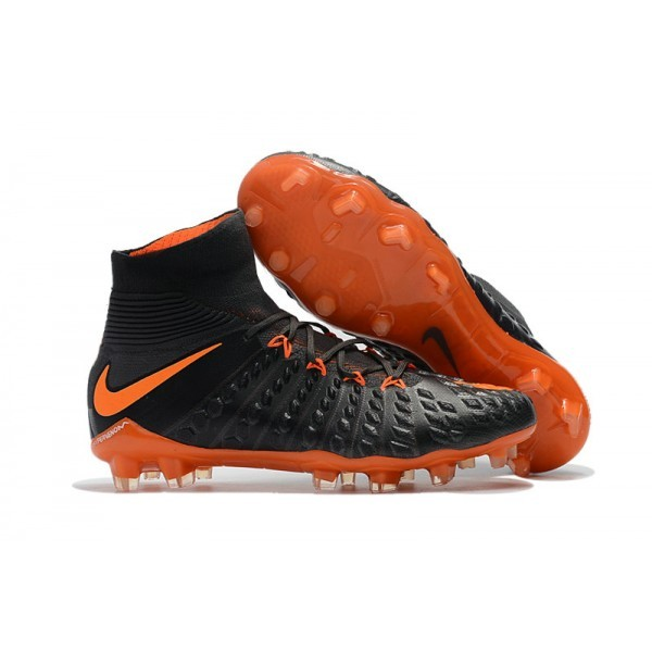 Men's Nike Soccer Cleats 2017 Men's Nike Hypervenom Phantom 3 FG Black Orange