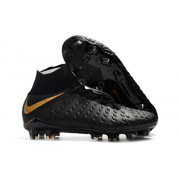 Men's Nike Soccer Cleats Hypervenom Phantom III DF FG Black Metallic Vivid Gold