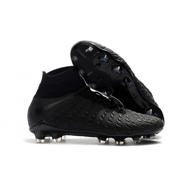 Men's Nike Soccer Cleats Hypervenom Phantom III DF FG Black Silver