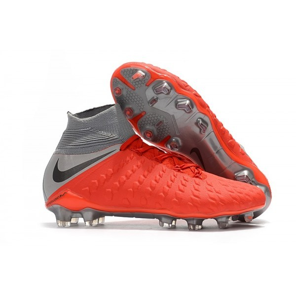 Men's Nike Soccer Cleats Hypervenom Phantom III DF FG Red Grey