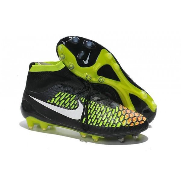 2016 Men's Nike Magista Obra Firm-Ground Soccer Shoes Black Volt Hyper Punch White