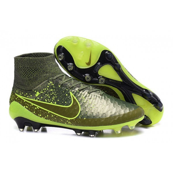 2016 Men's Nike Magista Obra Firm-Ground Soccer Shoes Power Clash Green Black