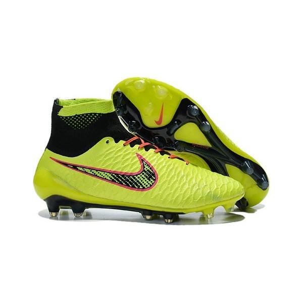 2016 Men's Nike Magista Obra Firm-Ground Soccer Shoes Volt Orange Pink Black