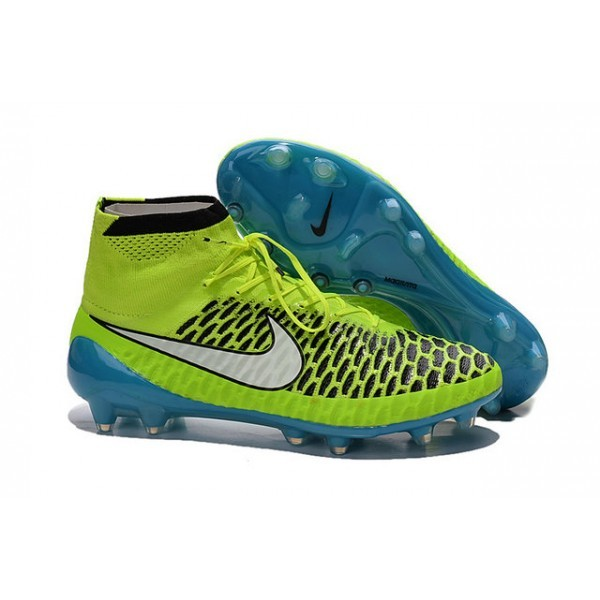 2016 Men's Nike Magista Obra Firm-Ground Soccer Shoes Volt White Blue Lagoon Black