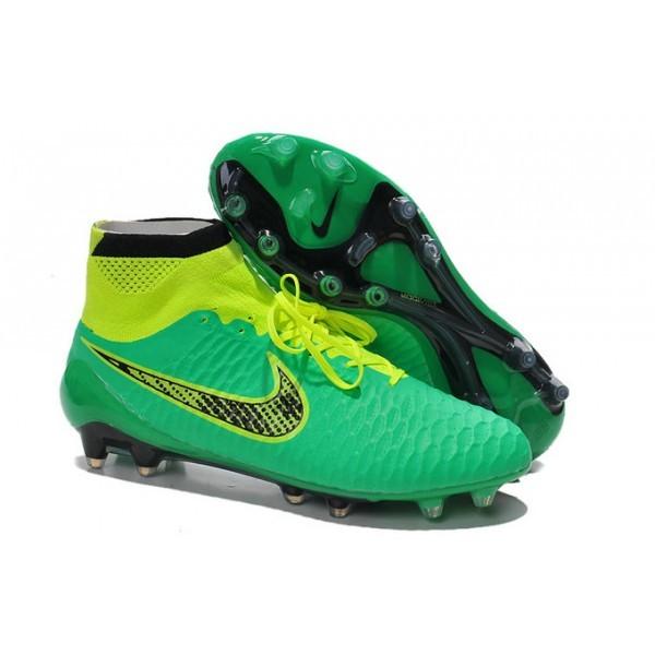 Men's Nike Magista Obra FG Soccer Cleats Low Price Black Green Volt