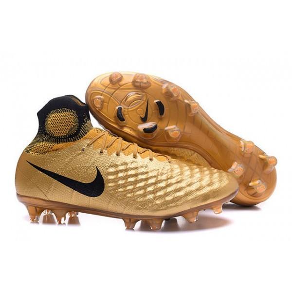 Men's Nike Magista Obra II FG Soccer Boots Black Gold