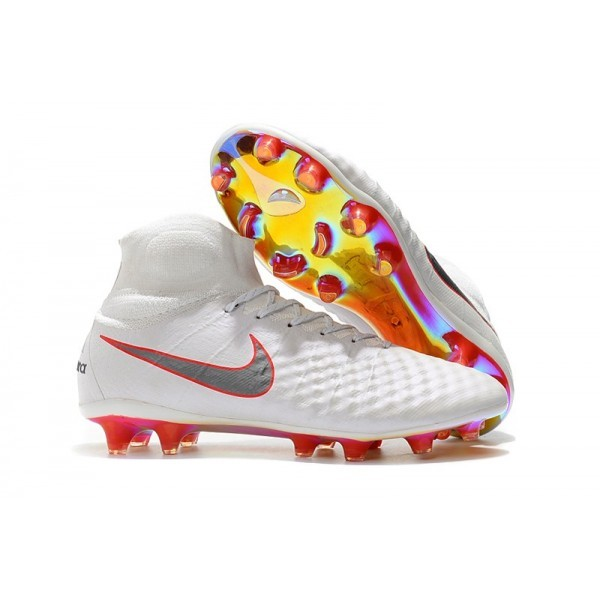 Men's Nike Magista Obra II FG Soccer Boots White Metallic Cool Grey Light Crimson
