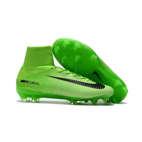 Men's Nike Soccer Cleats Mercurial Superfly V FG Electric Green Black Ghost Green