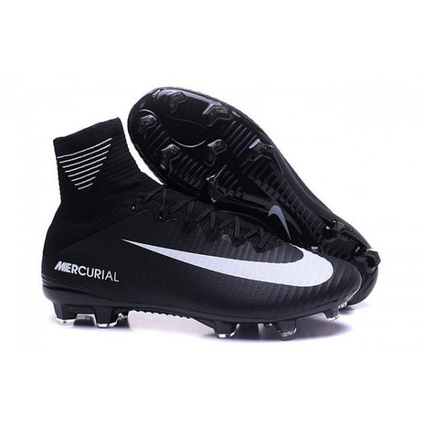 Men's Nike Mercurial Superfly 5 FG Black White Football Boots