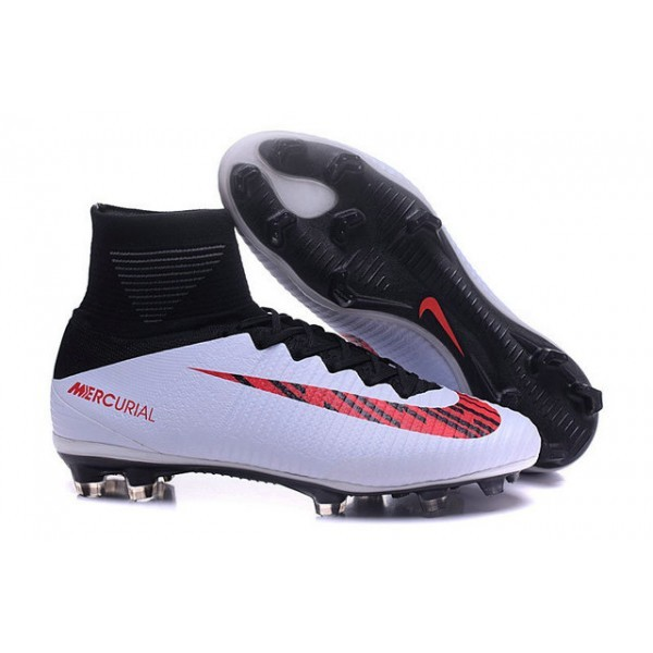Men's Nike Mercurial Superfly 5 FG Black White Red Football Boots