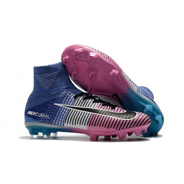Men's Nike Football Boots Mercurial Superfly 5 FG Blue Pink Black
