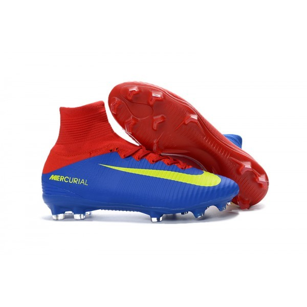 Men's Nike Football Boots Mercurial Superfly 5 FG Blue Red Yellow