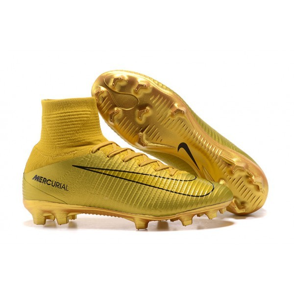 Men's Nike Football Boots Mercurial Superfly 5 FG CR7 Gold Black