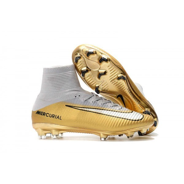 Men's Nike Football Boots Mercurial Superfly 5 FG CR7 Quinto Triunfo Gold White