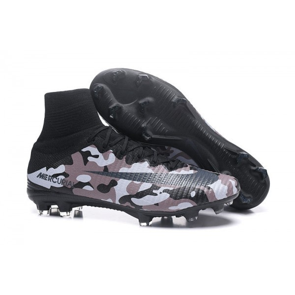 Men's Nike Football Boots Mercurial Superfly 5 FG Camouflage Grey Black