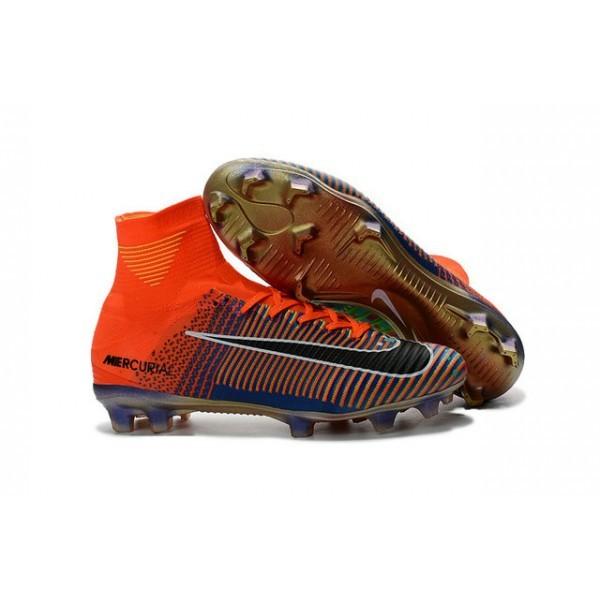 Men's Nike Football Boots Mercurial Superfly 5 FG x EA Orange Green Blue Black