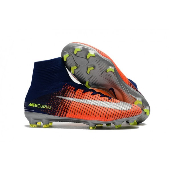 Men's Nike Football Boots Mercurial Superfly 5 FG Orange Yellow Silver