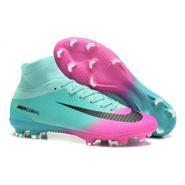 Men's Nike Football Boots Mercurial Superfly 5 FG Pink Blue Black