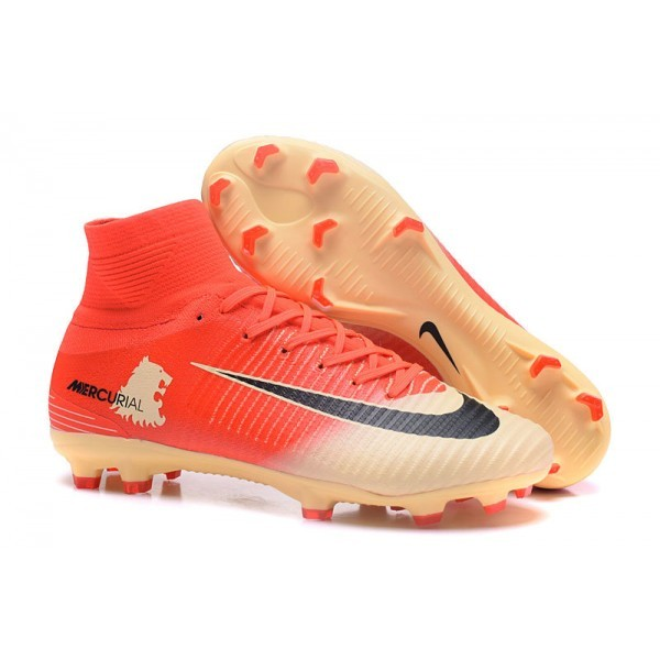 Men's Nike Football Boots Mercurial Superfly 5 FG Red Gold Black