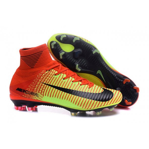 Men's Nike Football Boots Mercurial Superfly 5 FG Red Volt Black