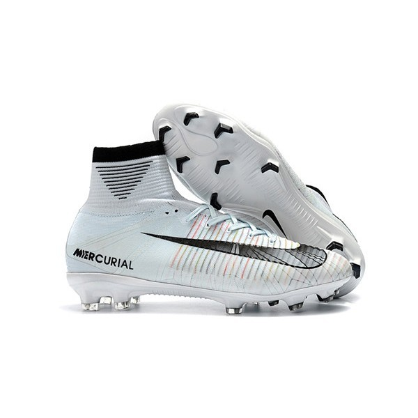 Men's Nike Football Boots Mercurial Superfly 5 FG Ronaldo White Blue Tint