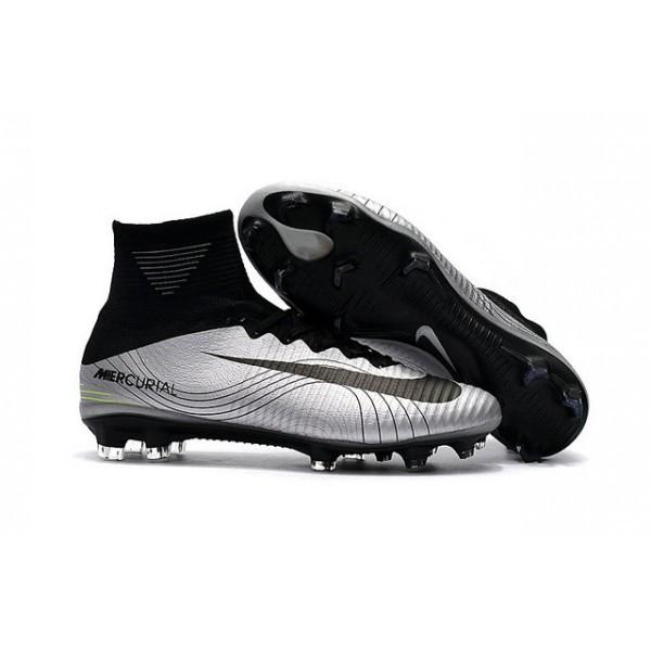 Men's Nike Football Boots Mercurial Superfly 5 FG Silver Black