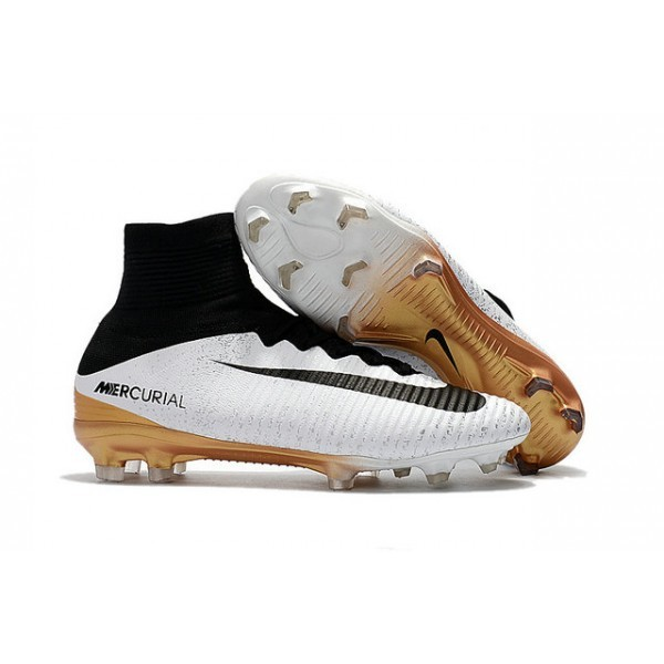 Men's Nike Football Boots Mercurial Superfly 5 FG White Gold Black