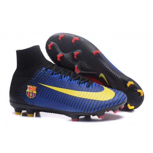 Men's Nike Soccer Cleats Mercurial Superfly V FG Barcelona FC Blue Red Yellow Black