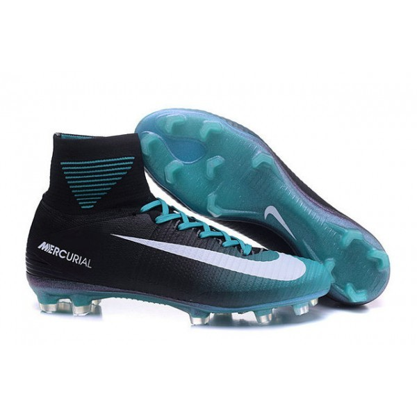 Men's Nike Soccer Cleats Mercurial Superfly V FG Black Blue White