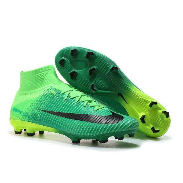 Men's Nike Soccer Cleats Mercurial Superfly V FG In Black Green