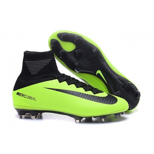 Men's Nike Soccer Cleats Shoes Mercurial Superfly V FG Black Green