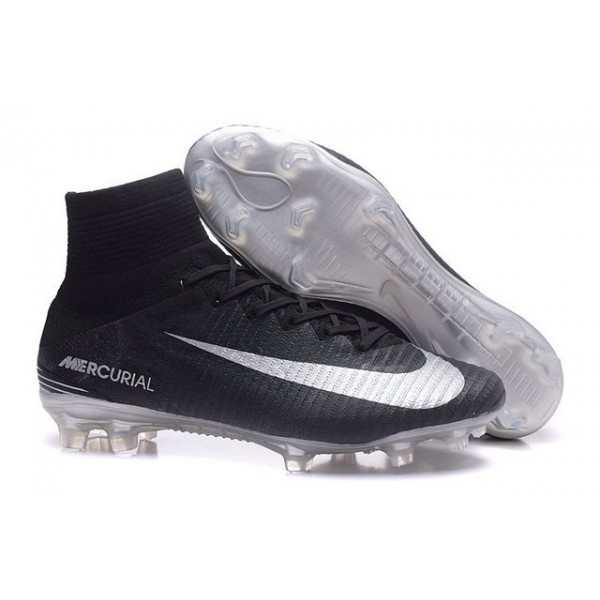 Men's Nike Soccer Cleats Mercurial Superfly V FG In Black Silver