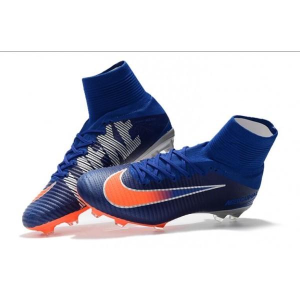 Men's Nike Soccer Cleats Mercurial Superfly V FG Blue White Orange