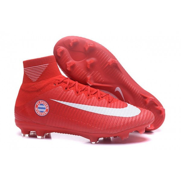 Men's Nike Soccer Cleats Mercurial Superfly V FG FC Bayern München Red White
