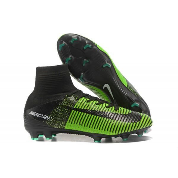 Men's Nike Soccer Cleats Mercurial Superfly V FG In Green Black