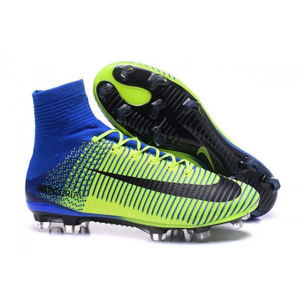 Men's Nike Soccer Cleats Mercurial Superfly V FG Green Blue Black