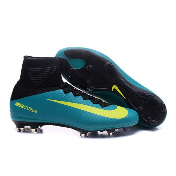 Men's Nike Soccer Cleats Mercurial Superfly V FG Green Yellow Black