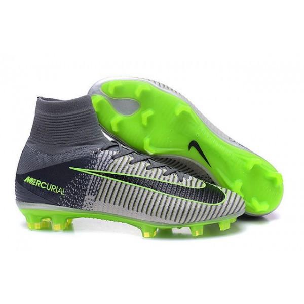 Men's Nike Soccer Cleats Mercurial Superfly V FG Grey Black Green