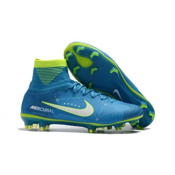 Men's Nike Soccer Cleats Mercurial Superfly V FG NJR Blue White Volt