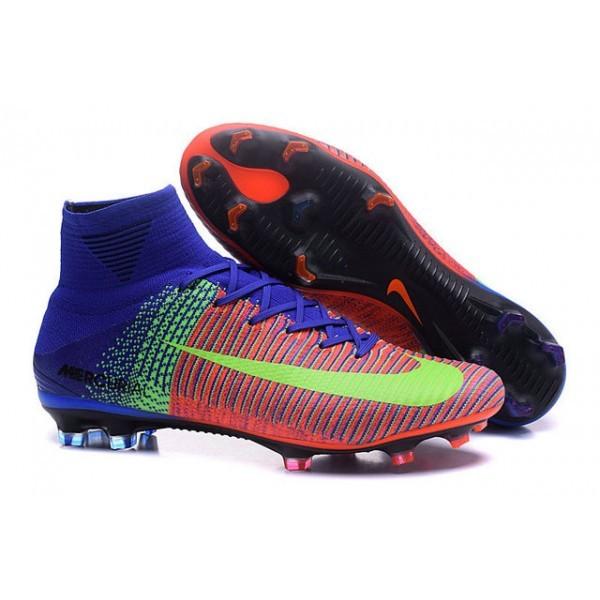 Men's Nike Soccer Cleats Mercurial Superfly V FG Red Blue Volt