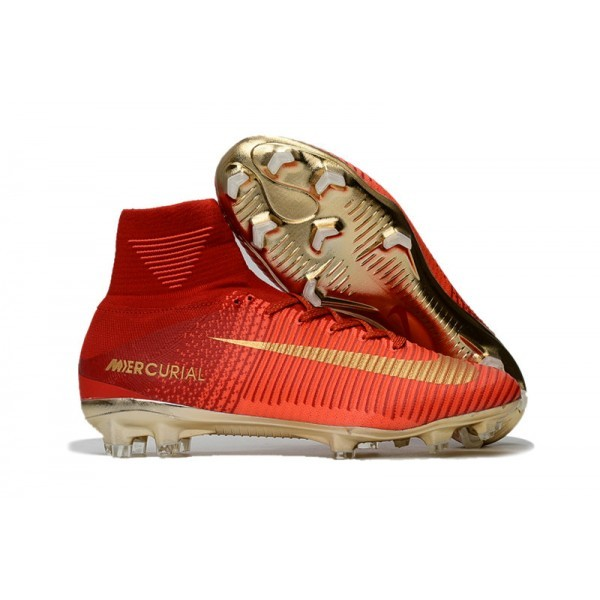 Men's Nike Soccer Cleats Mercurial Superfly V FG Red Gold