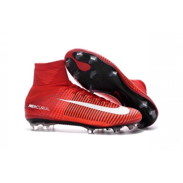 Men's Nike Soccer Cleats Mercurial Superfly V FG Red White Black
