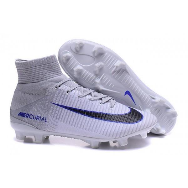 Men's Nike Soccer Cleats Mercurial Superfly V FG White Grey Black