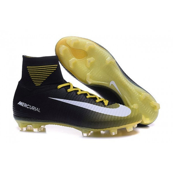 Men's Nike Soccer Cleats Shoes Mercurial Superfly V FG Yellow Black White