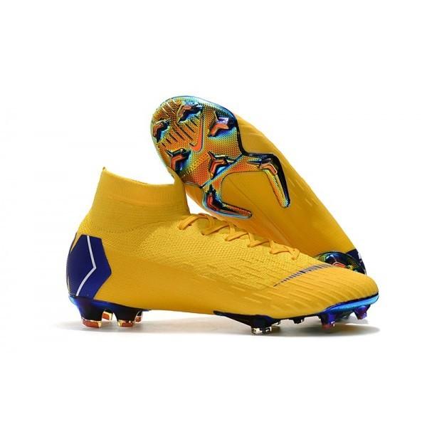 2018 Men's Nike cr7 Mercurial Superfly 6 Elite FG Amarillo Blue Yellow Blue