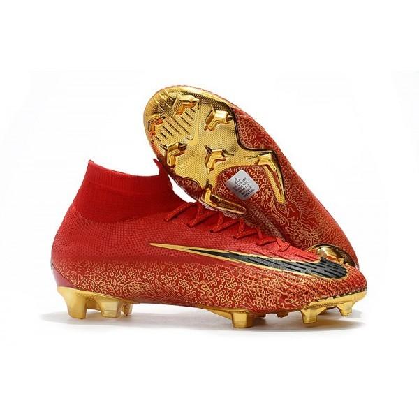 2018 Men's Nike cr7 Mercurial Superfly 6 Elite FG Red Black Gold Bright Crimson Black Gold