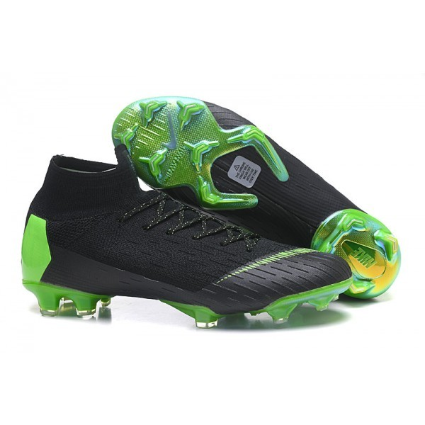 Men's Nike Soccer Cleats Mercurial Superfly 6 Elite FG Black Green