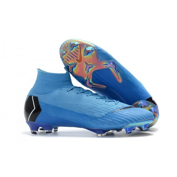 Men's Nike Mercurial Superfly VI Elite FG Football Cleats Blue Black